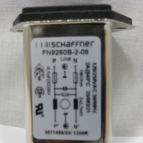 SCHAFFNER FN9260B-2-06 Power Entry Module Filter w//Fuse Holder 2A Fast-On