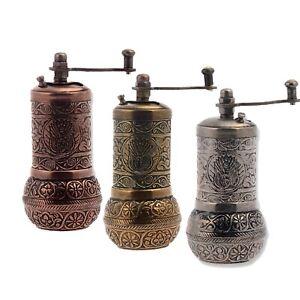 """Black Pepper Salt and Spice Grinder Mill 3 X 4.2/"""" Turkish Handmade Grinder SET!"""