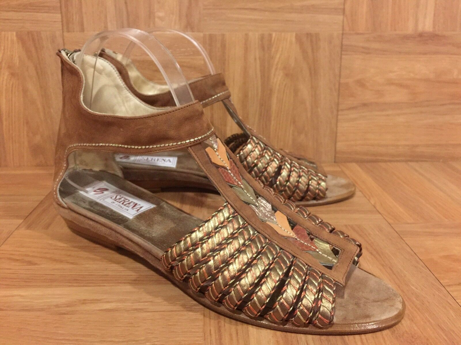 Serena D'Italia Low Wedge Sandals Gold Woven Leather Sz 40.5 9 US