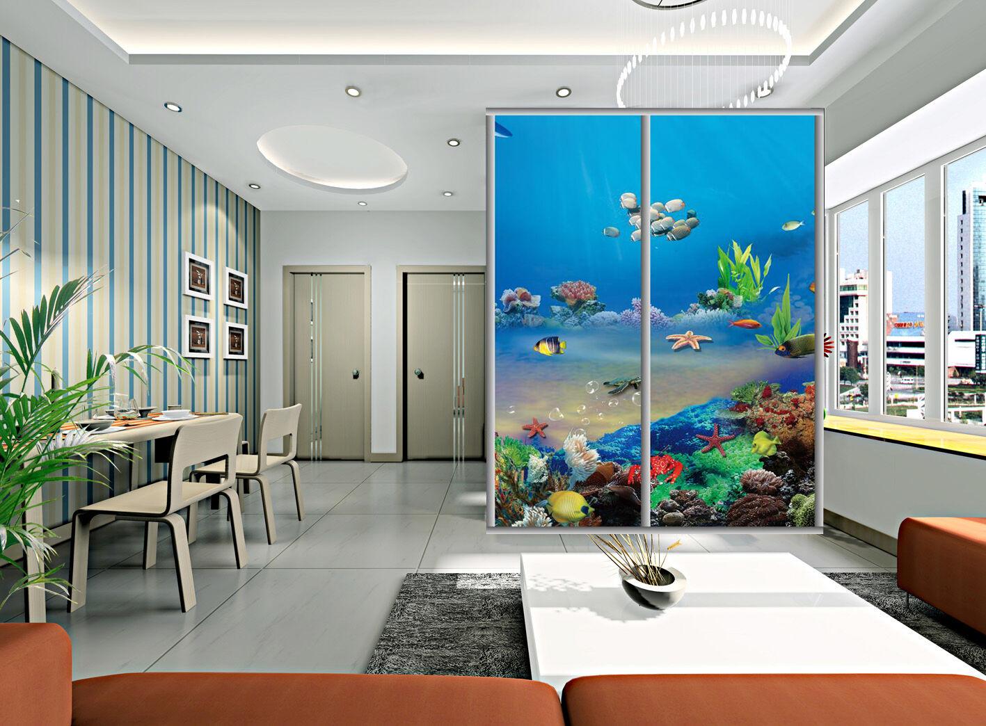 3D Ocan Poissons 2 Photo Papier Peint en Autocollant Murale Plafond Chambre Art