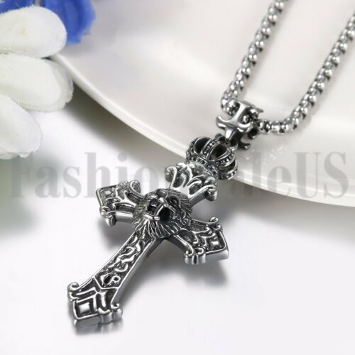 """Mens Punk Heavy Stainless Steel Crown Lion Head Cross Pendant Necklace Chain 22/"""""""