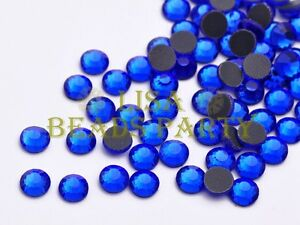 New-100pcs-SS30-6mm-16-Facets-DMC-Hotfix-Iron-On-Crystal-Rhinestones-Deep-Blue