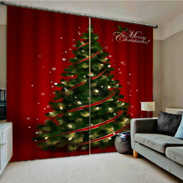 40x55 Christmas Curtains Living Room Bedroom Waterproof 2panels Drapes Xmas For Sale Online