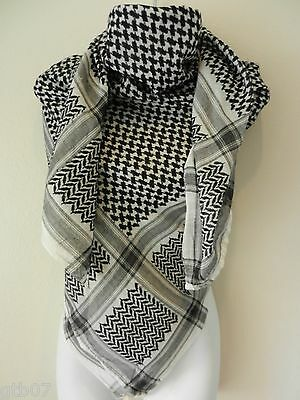 Dark Black Arafat Shemagh Arab Head Scarf Neck Wrap Authentic Palestine DK-NO