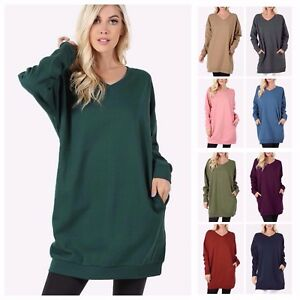 Women's V-Neck Long Sleeve Over-Sized Long Tunic Top Pocket ...
