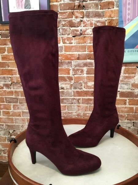 BCBG BCBG BCBG Generation Russo Pinot Burgundy Stretch Fabric High Heel Stiefel 9 NEW f6183d