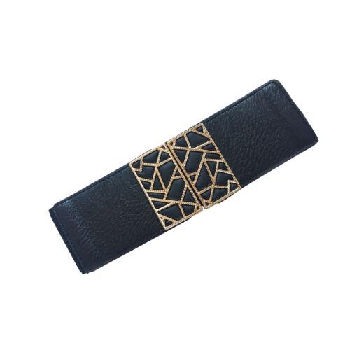 Señoras ancho ajustable hebilla de oro Elástico Cintura Elástica Corsé De Cintura Cinturón