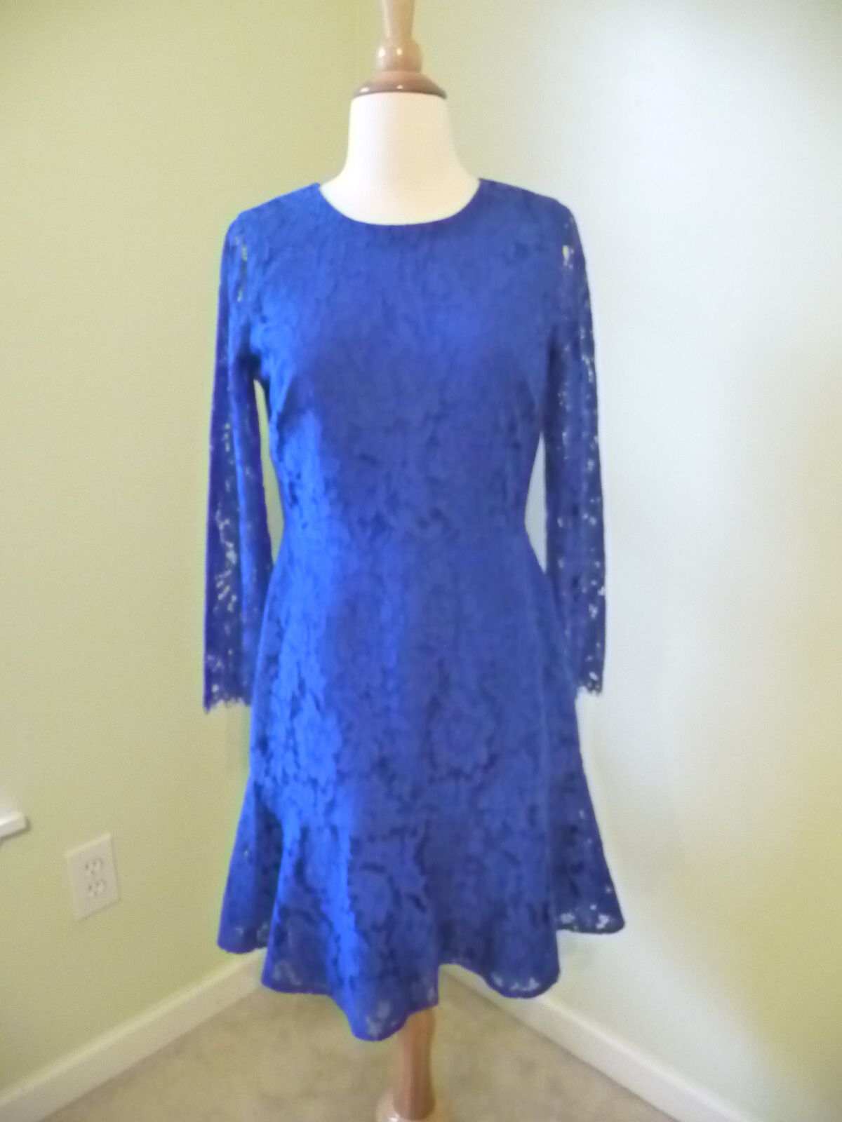 NEW J.CREW LONG-SLEEVE DRESS IN FLORAL LACE, E5036, BRIGHT OCEN, Größe 4,