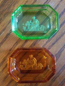 Antique Intaglio Glass Salt Cellars Pin Trinket Dish