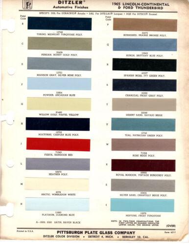 1965 FORD THUNDERBIRD LINCOLN MARK 65 PAINT CHIPS DITZLER 3 20PC