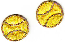 "TENNIS BALLS - YELLOW w/GOLD (2 Pc)(1"")-Iron On Embroidered Applique/Sports"