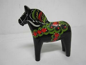 "VINTAGE NILS OLSSON SWEDEN HAND PAINTED WOOD 6"" BLACK HORSE"