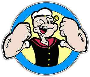 Popeye The Sailor Man Kids Cartoon Car Bumper Window Locker Sticker