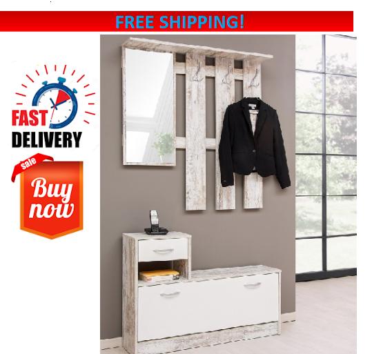 Tremendous Coat Rack Stand Hooks Hanger Bench Storage Shoe Hallway Mirror Furniture Cabinet Download Free Architecture Designs Rallybritishbridgeorg