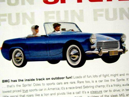 "1961 BMC Sprite BMC NEW FUN SPRITE Original Print Ad 8.5 x 11/"""
