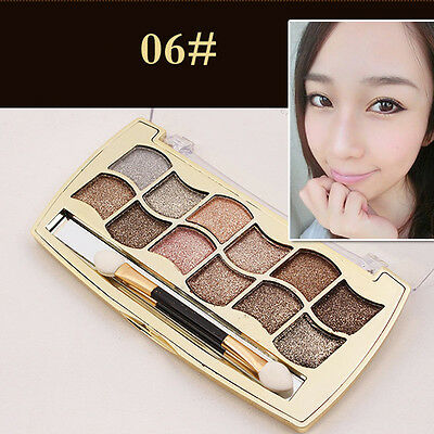 Hot 12 Colors Pro Eyeshadow Shimmer Palette & Cosmetic Brush Makeup Beauty Set