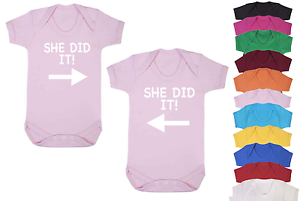 She Did It Novelty Twins Baby Vests Babygrow Baby Twin Gifts Baby Twin set