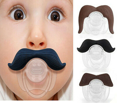 Funny Mustache Baby Boy Girl Infant Pacifier Orthodontic Dummy Beard Nipples