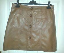 TAN Womens A-LINE PU SKIRT Faux Leather Button uk10 us8 eu36 Waist w30ins w76cms