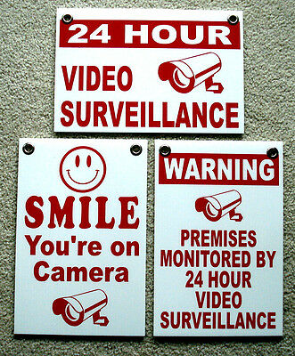 3 WARNING SECURITY CAMERAS IN USE Coroplast YARD SIGNS 8x12 w// Stakes Security Y