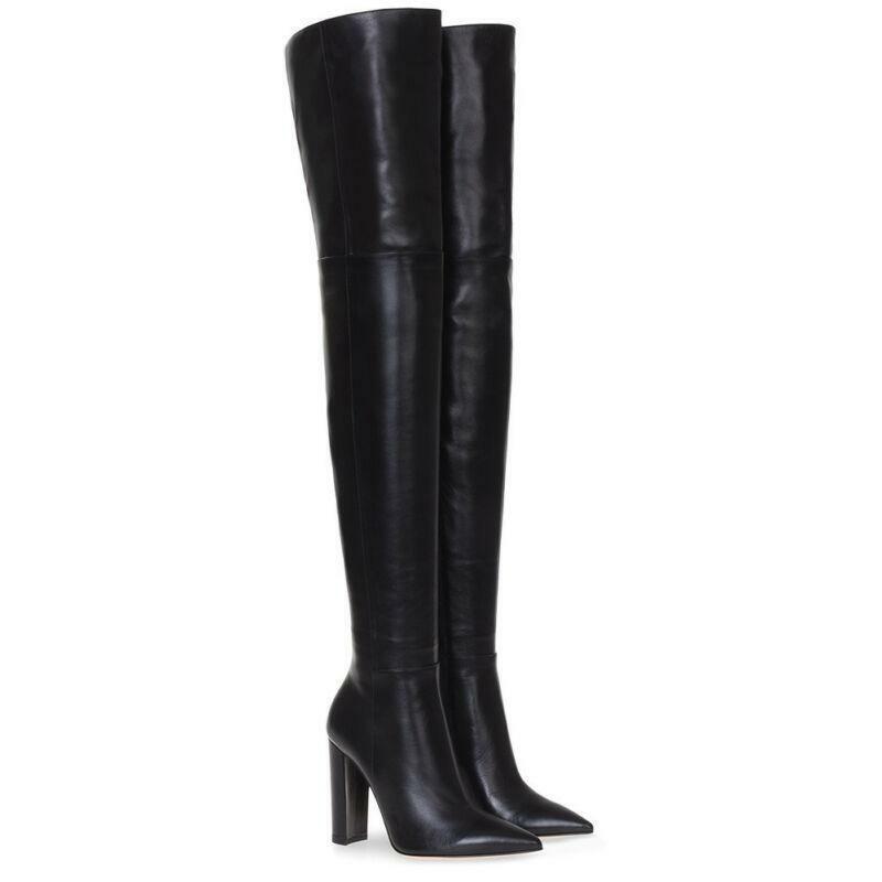 Mujer Cuero Sobre Rodilla botas de combate militares Bloque Talón Zapatos Puntera Puntiaguda Y163