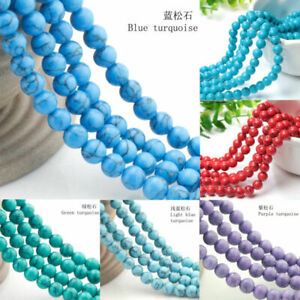 Natural-Turquoise-Gemstone-Round-Beads-Spacer-Loose-Beads-4-6-8-10-12mm-15-034