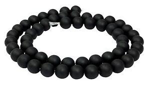 Muschelkernperlen-schwarz-matt-Kugeln-8-mm-Perlen-Strang-Muschelperlen