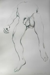 LOWELL-NESBITT-Hand-Signed-Limited-Edition-Lithograph-BARRY-MALE-NUDE-1979