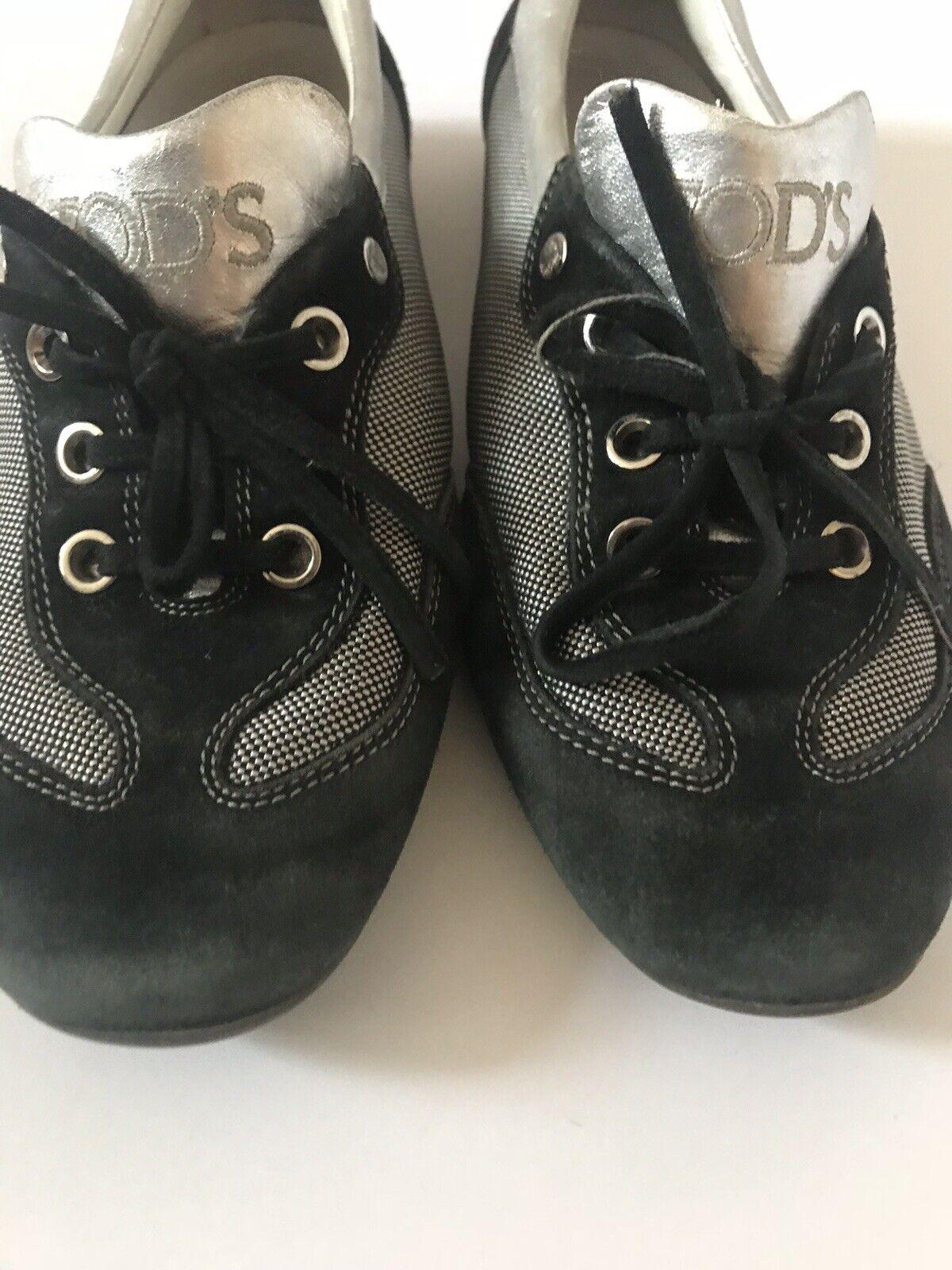 Todd's Femme Chaussures Keds Argent Noir En Toile & Daim Daim Daim Lacets SZ 8 e38007