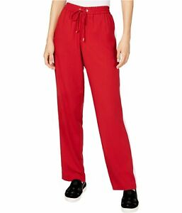 Michael Kors Womens Striped Athletic Track Pants, Red, Large
