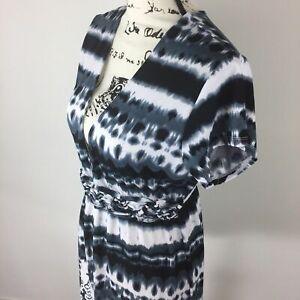 DOTTI-Multi-Color-V-Neck-Empire-Waist-Cap-Sleeve-Casual-Dress-Womens-Size-Medium