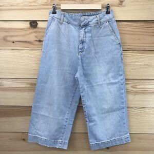 Zara-Womens-Gaucho-Jeans-Large-Capri-High-Waist-Wide-Leg-Light-Cropped-Pants-B1