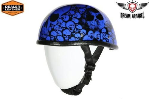 MOTORCYCLE BLUE EAGLE NOVELTY HELMET W//BONEYARD GRAPHIC W//CHIN STRAP COMFORTABLE