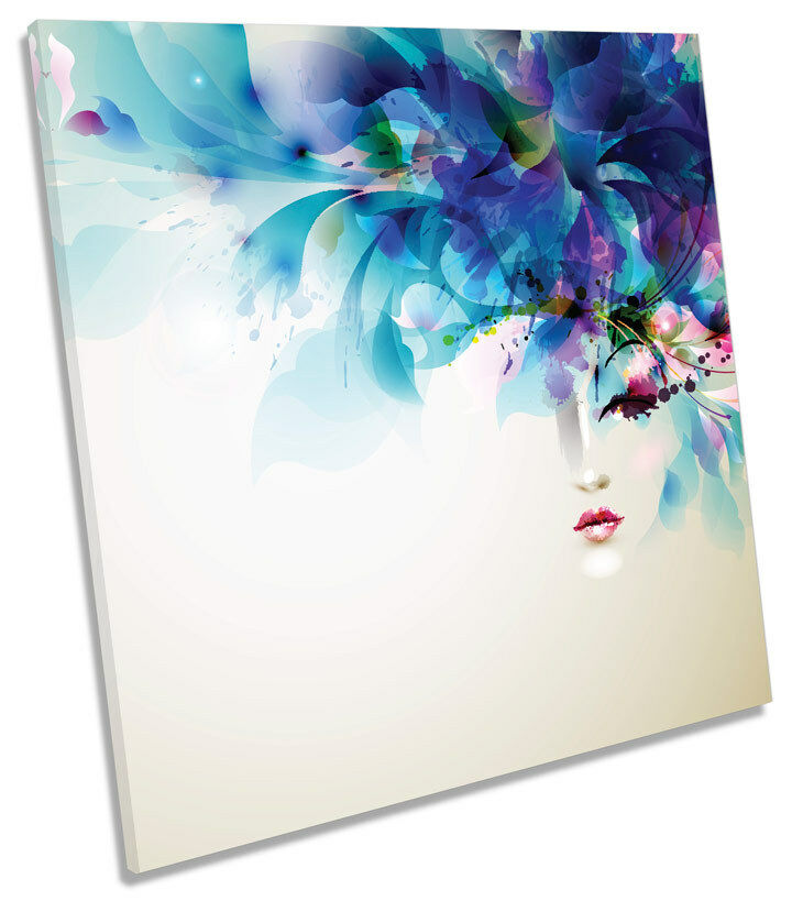 Fashion Floral Model Beauty SQUARE CANVAS WALL ART Framed Print