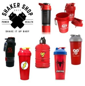 Red Protein Powder Blender Shaker Cups and Gym Supplement Water Bottle Jugs