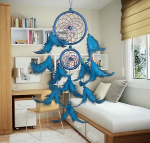 Classic-Dream-Catcher-with-Feather-Nets-amp-2-Rings-UK-Stock-FREE-P-amp-P