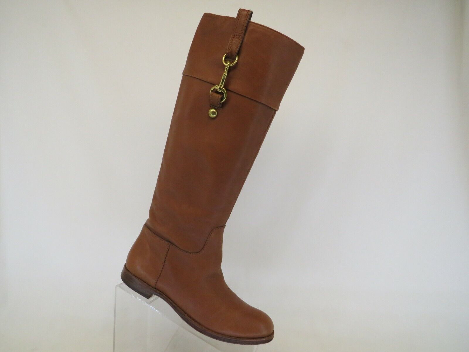 Coach Brown Leather Side Zip High Knee Fashion Boots Size 7.5 B
