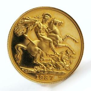 Britain-2-Pounds-Sovereign-George-slaying-dragon-Proof-gold-coin-1987-Boxed