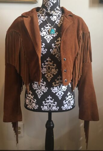"❤️VINTAGE❤️ ""COMINT"" 60's-70's Leather Fringe Crop"