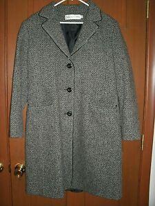 lana Nero 12 lunga Giacca Grigio Taglia Tweed Giacca donna Mackintosh in 0I1Ew