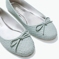ZARA SKY BLUE PATTERNED LEATHER BALLET BOW FLAT SHOES EUR 40/UK 7/USA 9
