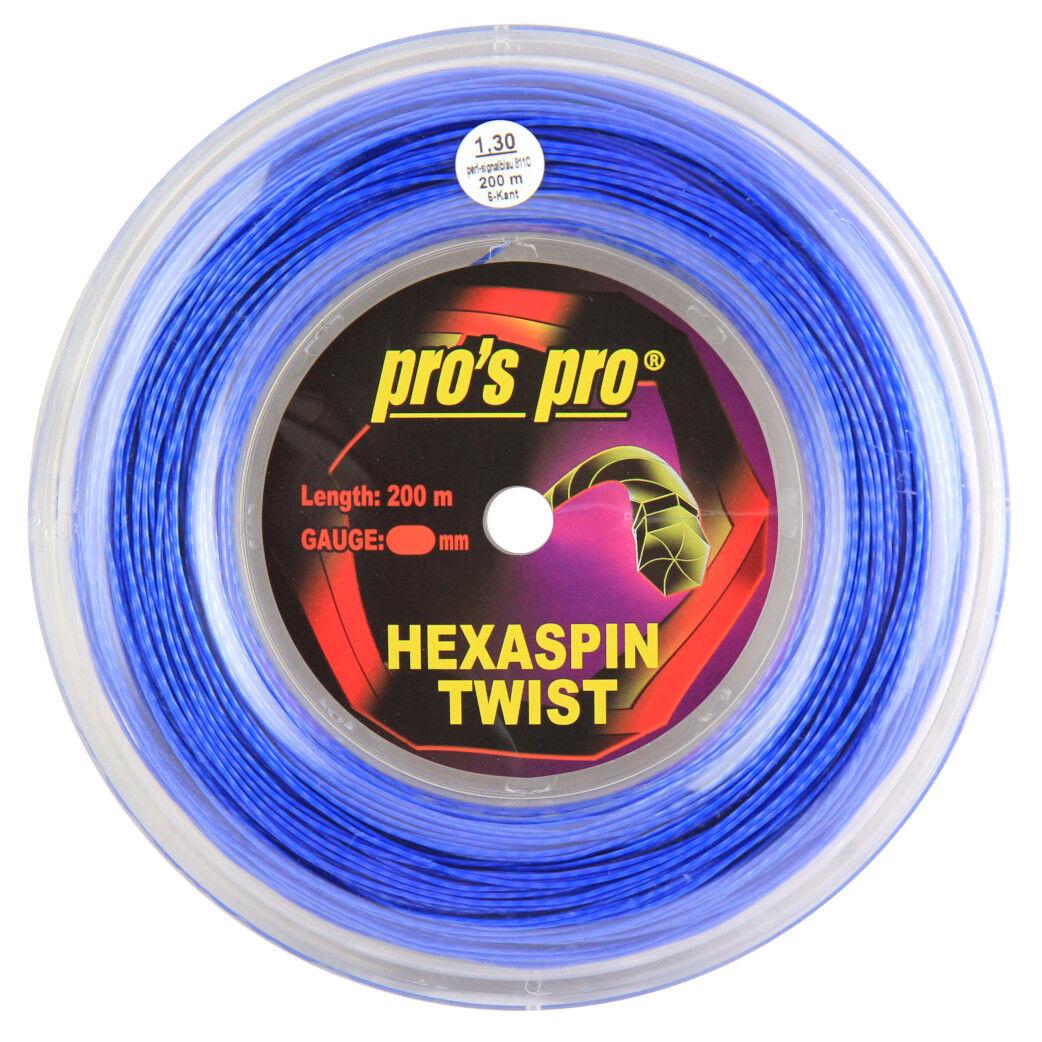 Pro's Pro Hexaspin Twist Tennis String - 200m (660ft) Reel - 1.30mm - bluee