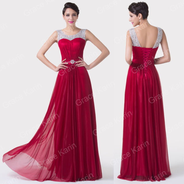 DARK RED Long Evening Gown LUXURY Bridesmaid Prom Dresses Wedding Dress UK 6- 20