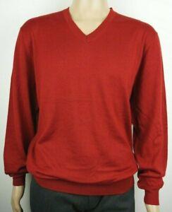 Men-039-s-nuevo-de-Christian-Berg-mezcla-de-lana-con-cuello-en-v-sueter-Jumper-Tamano-XL-44-034-Rojo
