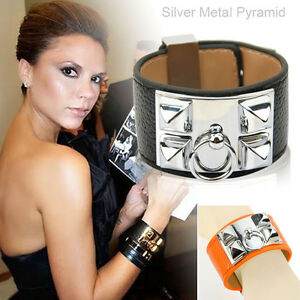 Image Is Loading Fashion Designer Genuine Leather Cuff Bracelet Silver Metal
