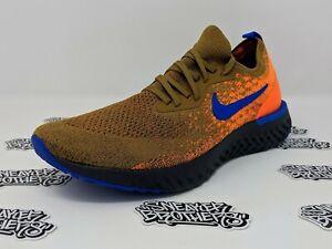 1033724ea1d9e Details about Nike Epic React Flyknit Mowabb Golden Beige Racer Blue Total  Orange AV8068-200
