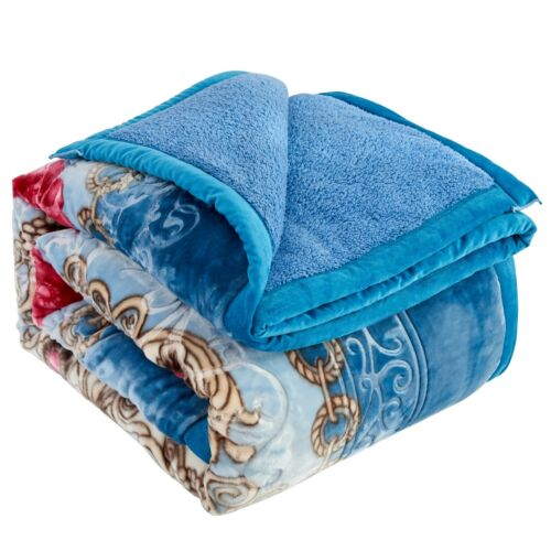 Heavy Korean Mink Blanket Sherpa Blanket Comforter Printed Embossed Bed Blanket