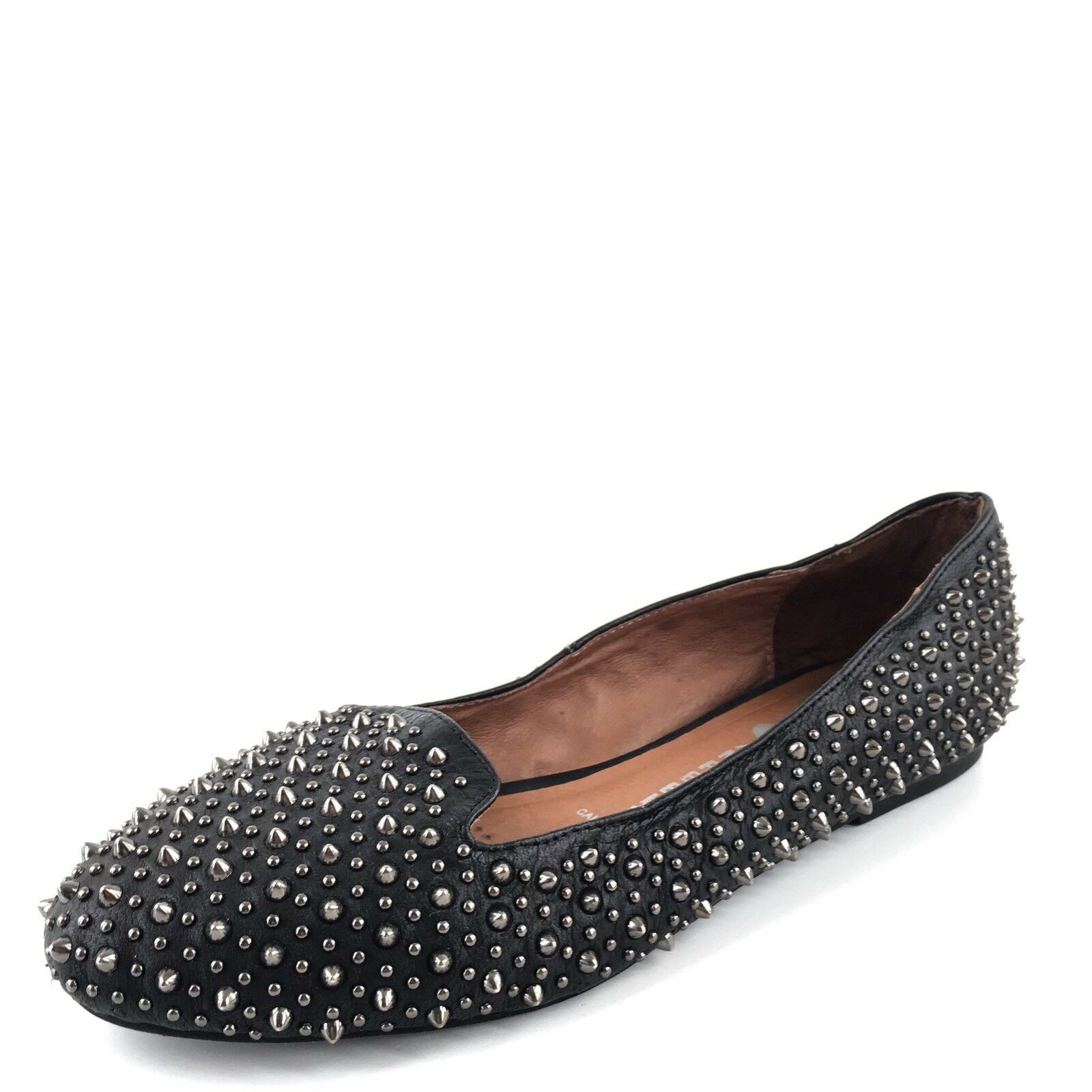 Jeffrey Campbell Martini Black Leather Studded Flats Women's Size 7 M