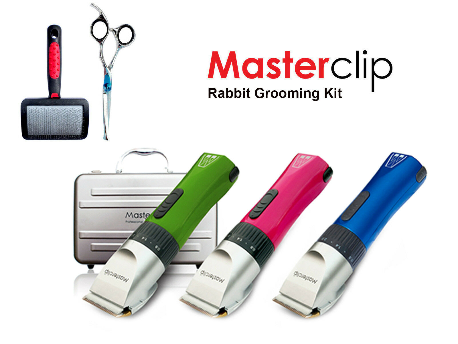 Cordless Rabbit Trimming Clipper Grooming Kit with Scissors & Brush - Masterclip