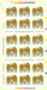 US-2431a-eagle-and-shield-25c-full-pane-Sheet-of-18-mnh-new-year-1989